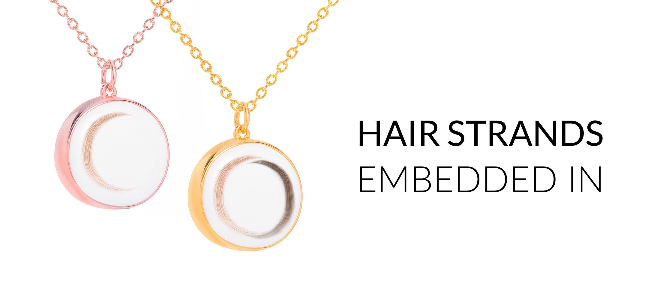 Hair strands embedded in *